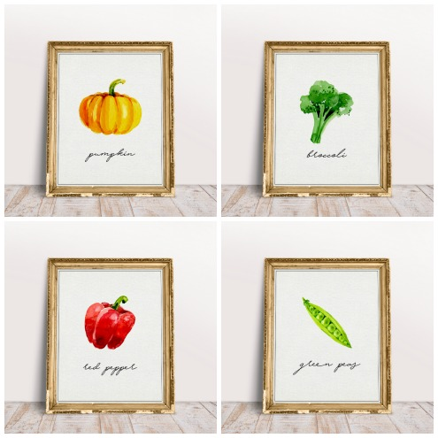 Watercolor vegetables printables