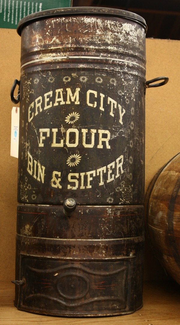 Antique Cream City Flour Bin and Sifter