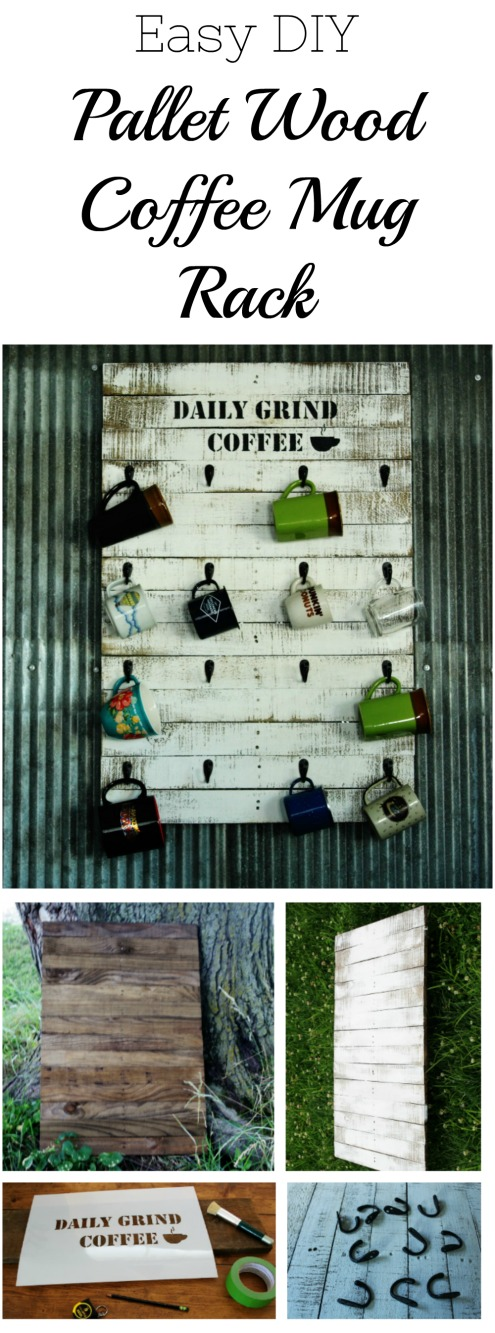 How to Make an Easy Pallet Wood Coffee Mug Rack | www.knickoftime.net