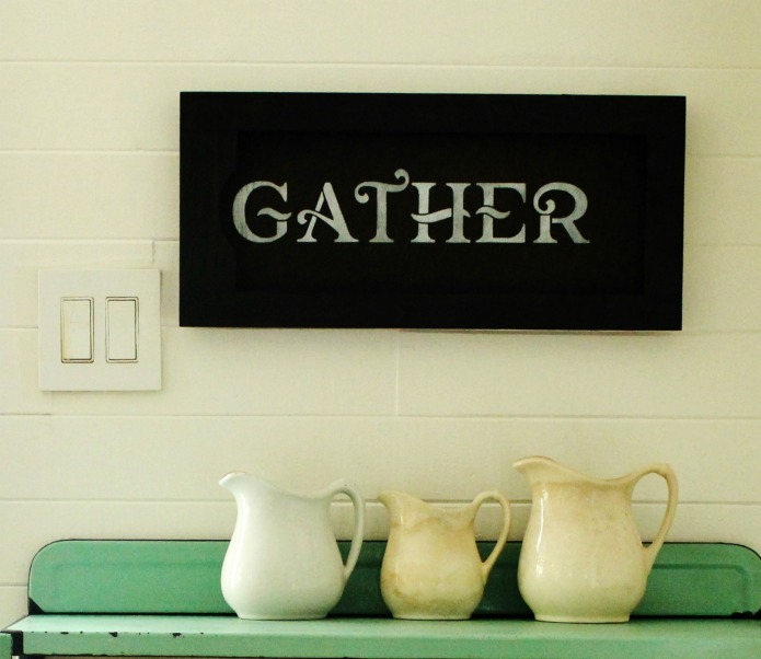How to Make a Farmhouse Style DIY Salvaged Cabinet Door Gather Kitchen Sign   www.knickoftime.net