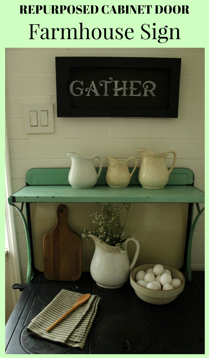 Repurposed Cabinet Door Farmhouse Sign | www.knickoftime.net