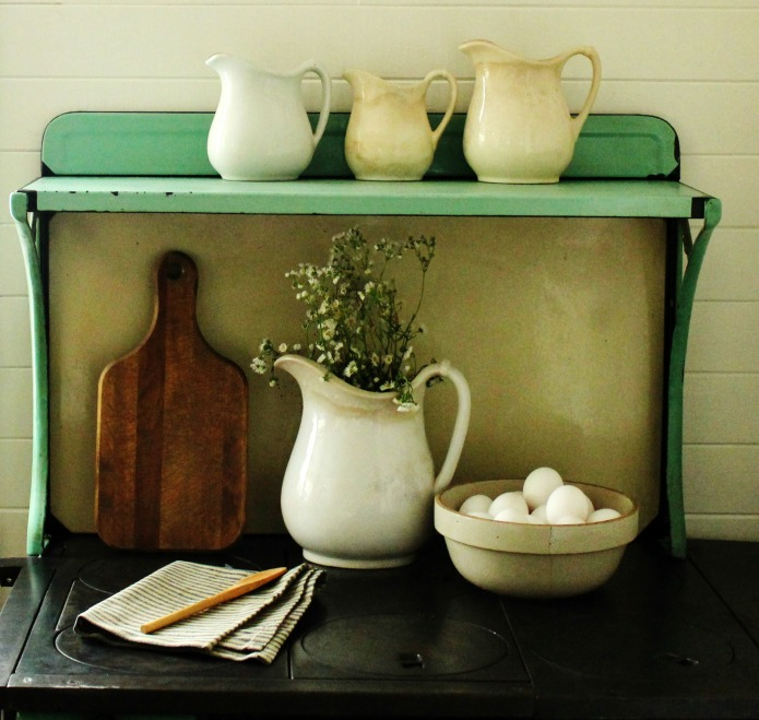 Farmhouse Kitchen Decorating Vignette with Ironstone Pitchers and Bowl of Farm Fresh Eggs | www.knickoftime.net