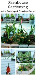 Farmhouse Summer Flower Bed and Junk Garden with Salvaged Garden Decor | wwww.knickoftime.net