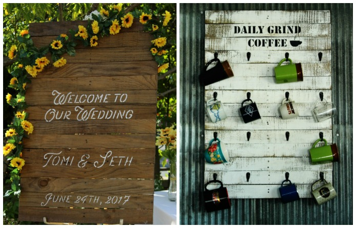 Upcycled Pallet Wood Wedding Sign into Kitchen Coffee Mug Rack | www.knickoftime.net