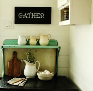 How to Make a Farmhouse Style DIY Repurposed Cabinet Door Gather Kitchen Sign | www.knickoftime.net
