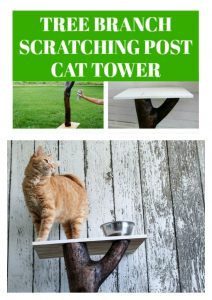 How to make a tree branch scratching post cat tower | www.knickoftime.net