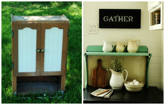 "How to Make an Easy Repurposed Cabinet Door Farmhouse Kitchen ""Gather"" Sign 
