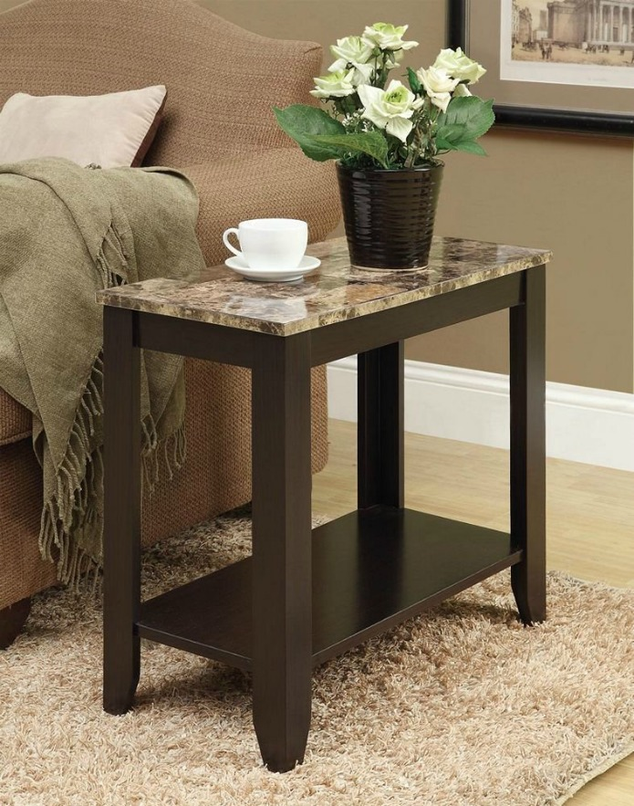 Inexpensive Farmhouse Furniture Solid Wood Marble Top Side