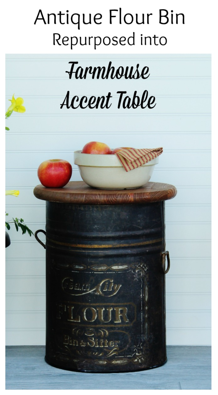 Farmhouse style furniture accent table made from an antique flour bin by Knick of Time | www.knickoftime.net