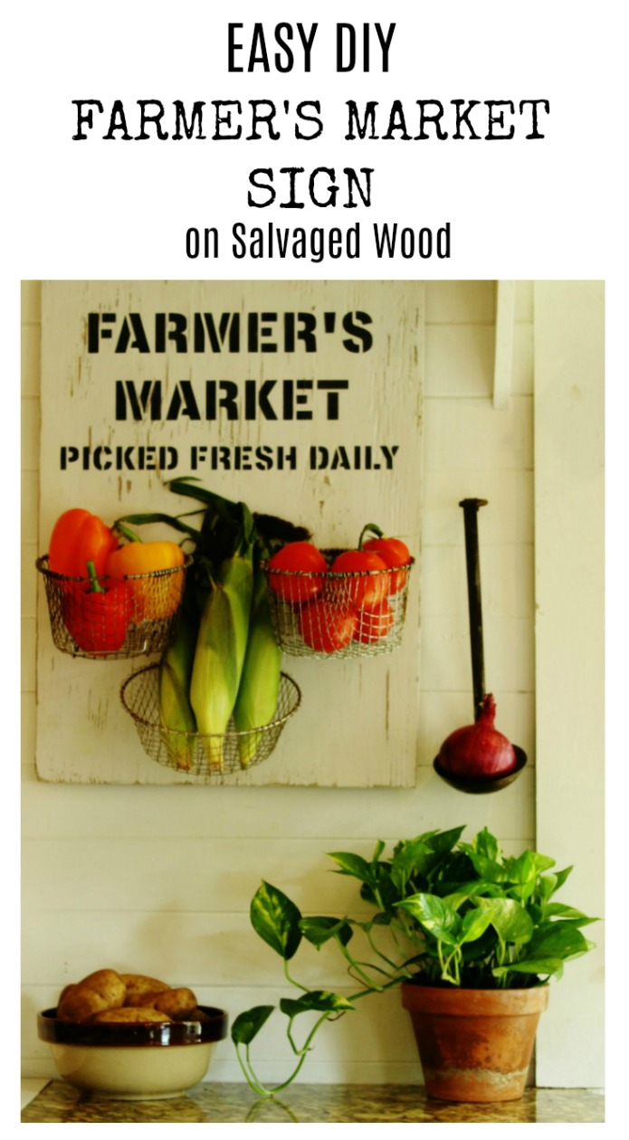 Easy DIY Farmer's Market kitchen sign on salvaged wood | www.knickoftime.net
