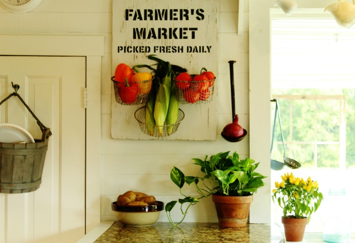 Salvaged Wood Farmer's Market Sign Kitchen Produce Baskets | www.knickoftime.net