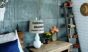 Farmer's market stenciled linen lamp shade in farmhouse guest room | www.knickoftime.net