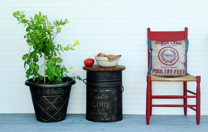 Farmhouse style antique flour bin repurposed as an accent table by Knick of Time | www.knickoftime.net