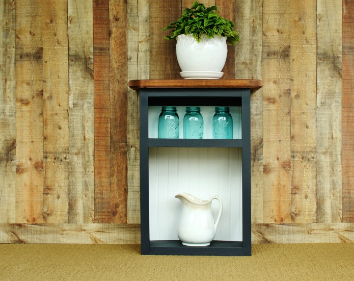 Farmhouse display cabinet with coleus vintage blue Ball jars and antique ironstone pitcher | www.knickoftime.net