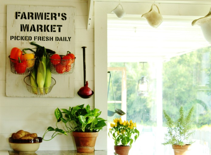How to make a Farmer's Market Sign Kitchen Produce Baskets with Salvaged Wood and Knick of Time's Vintage Sign Stencils | www.knickoftime.net