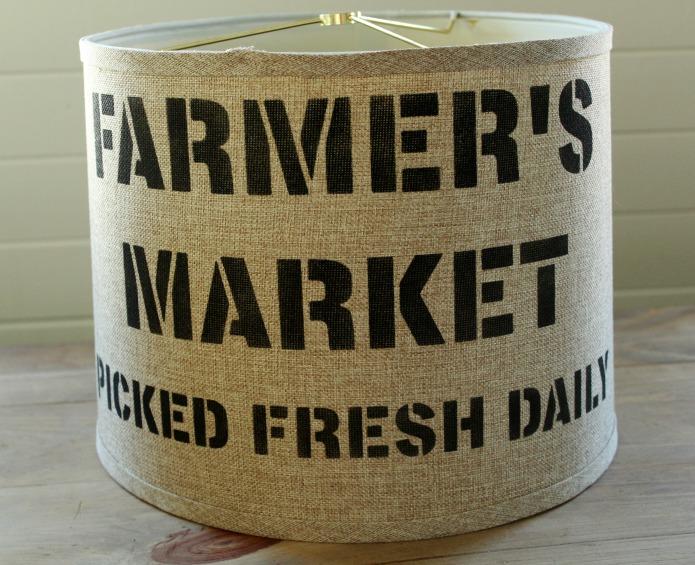 Farmhouse style farmer's market stenciled linen lamp shade | www.knickoftime.net
