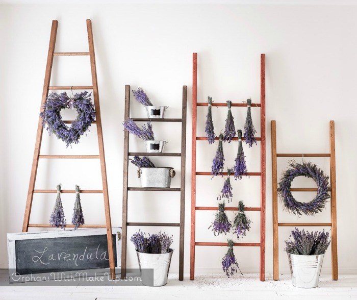 How to build decorative ladders and display lavender wreaths and bundles in galvanized buckets and containers containers