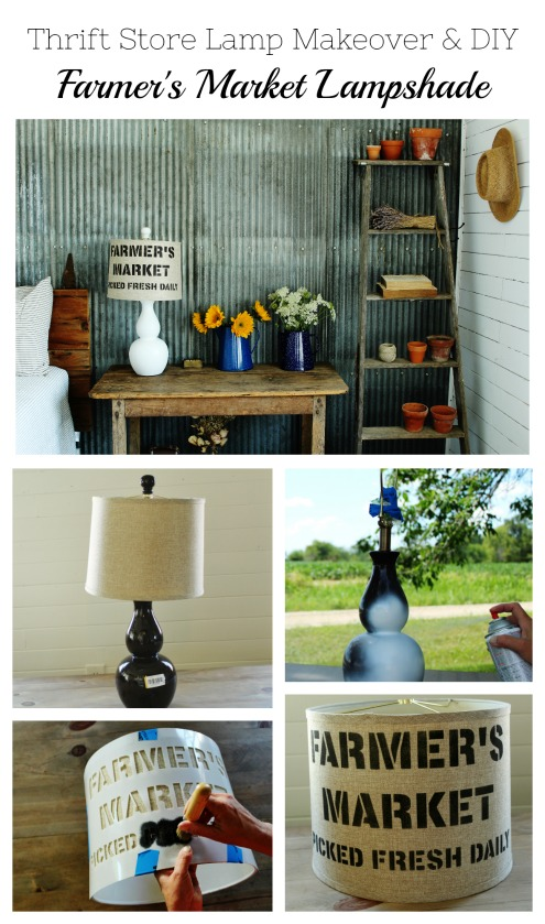 How to spray paint a farmhouse style thrift store lamp and make a DIY farmer's market lampshade using Vintage Sign Stencils | www.knickoftime.net