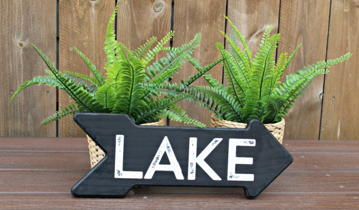 Lake Sign Arrow Sign Wood Arrow Wood Lake Sign Rustic Lake House Sign