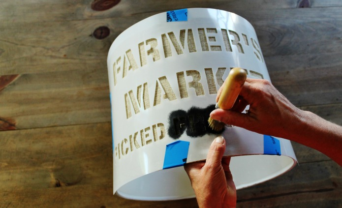 Painting a thrift store linen lamp shade using a Vintage Sign Stencil | www.knickoftime.net