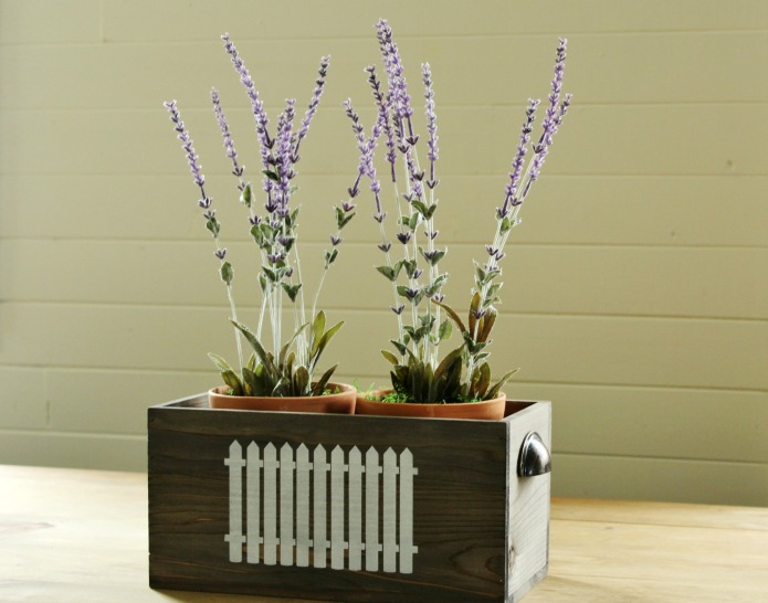 Potted faux lavender aromatherapy table centerpiece with picket fence stenciled wooden drawer | www.knickoftime.net