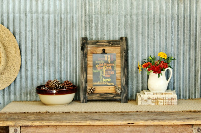 Don't shop at Hobby Lobby or Michaels for fall home decor! Save money and make this easy DIY rustic wooden clip board for family photos or free Autumn word art printables from Knick of Time | www.knickoftime.net