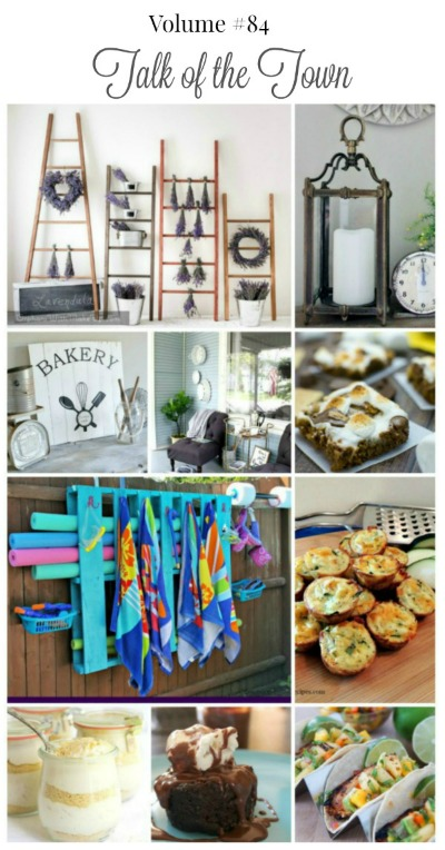 Talk of the Town features: DIY wooden ladders with lavender, light fixture turned into a lantern, DIY vintage style bakery sign, farmhouse style front porch makeover, s'mores bars, pallet pool storage, grilled citrus chicken tacos, zucchini muffins, chocolate mug cake, no bake cappuccino trifles + MORE! | www.knickoftime.net