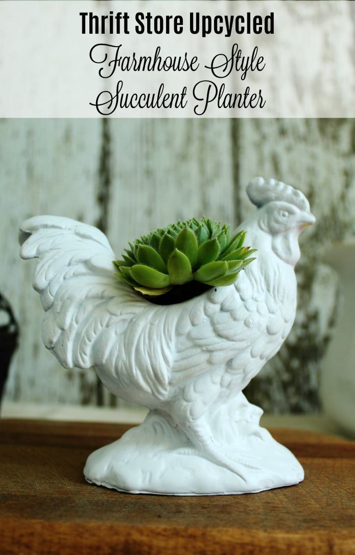 Farmhouse Style Upcycled Rooster Succulent Planter | www.knickoftime.net