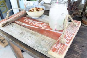 Vintage Coca Cola Crate repurposed wooden tray with rope handles featured by Knick of Time at Talk of the Town