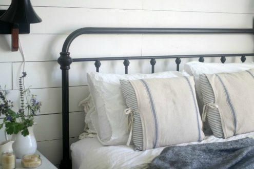 Grain sack pillow covers and ticking stripe farmhouse pillow shams