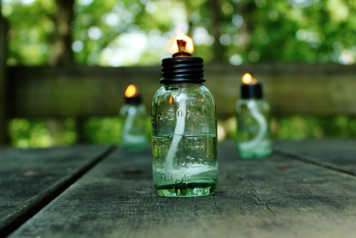 DIYMiniature Mason Jar Citronella Oil Lamps for Camping and Picnics | www.knickoftime.net