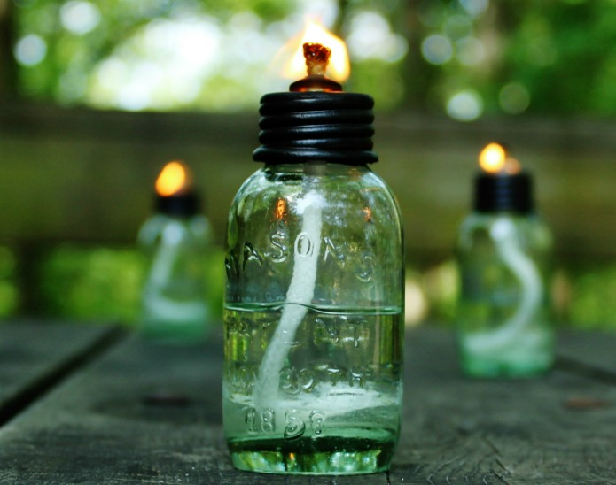 Miniature Mason Jar Citronella Oil Lamps for a Cabin Weekend Getaway