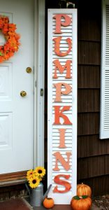 Repurposed shutter fall pumpkins sign by Crafts