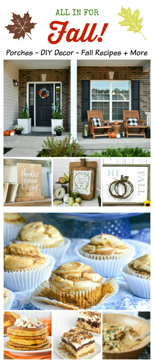 Fall Inspiration with front porches, DIY decor, Pumpkin Recipes & so much more featured at Talk of the Town | www.knickoftime.net