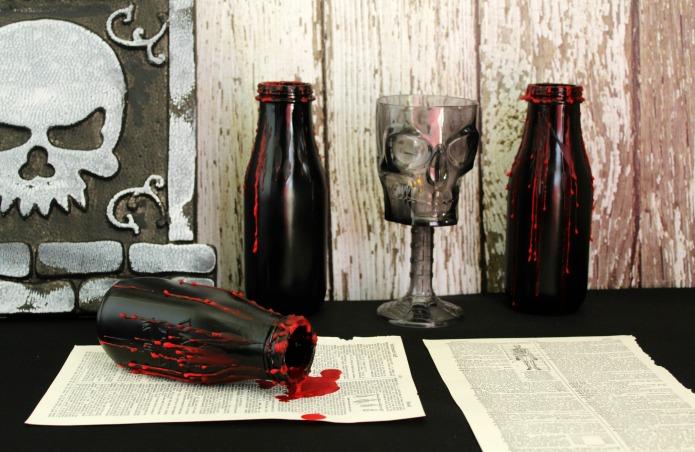 Easy DIY Creepy Halloween Bottles party decorations | www.knickoftime.net