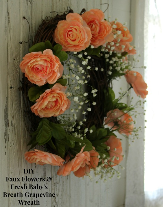 DIY Faux Flowers & Fresh Baby's Breath Grapevine Wreath for a Fall Wedding | www.knickoftime.net