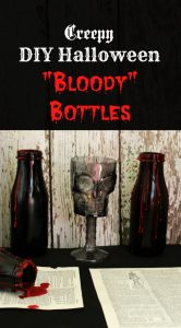 Easy DIY Creepy DIY Halloween Bloody Bottles party decorations | www.knickoftime.net