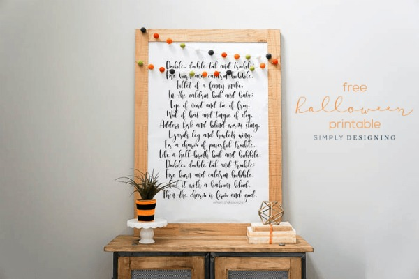 Double Double Toil and Trouble Free Halloween Printable by Simply Designing