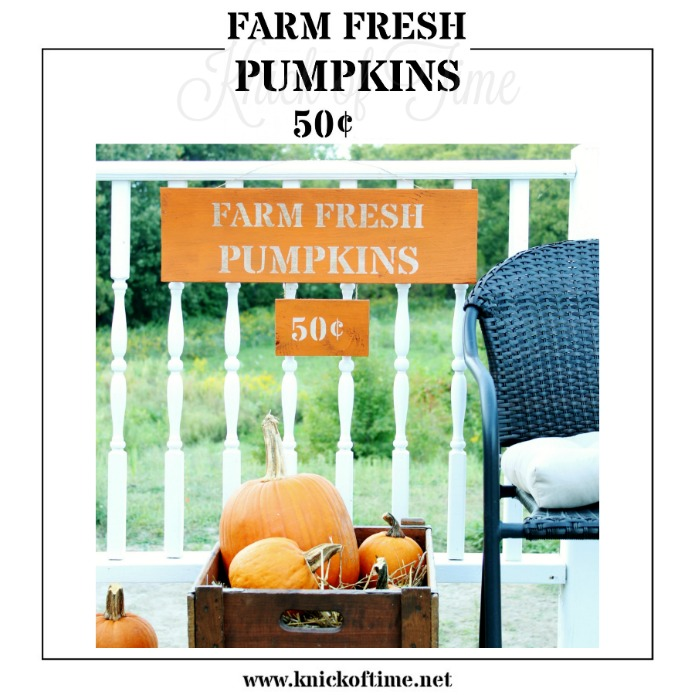 Farm Fresh Pumpkins stencil available from Knick of Time Vintage Sign Stencils