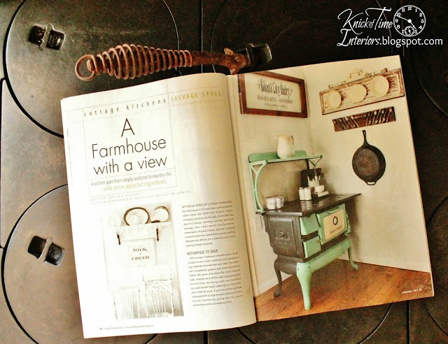 Farmhouse Kitchen antique cook stove featured in Cottages and Bungalows Magazine | www.knickoftime.net