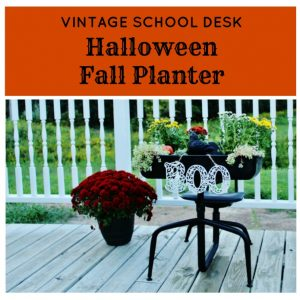 Back Porch Vintage School Desk Fall Flower Planter