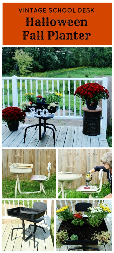 Vintage School Desk Fall Halloween Porch Planter | www.knickoftime.net