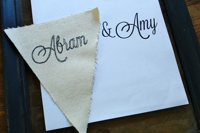 How to make a custom canvas pennant wedding banner www.knickoftime.net