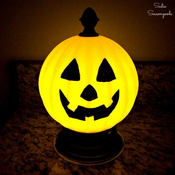 Jack-o-Lamp Salvaged Light Fixture Pumpkin by Sadie Seasongoods