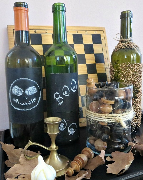 Repurposed Halloween Chalkboard Bottles Fall Vignette by