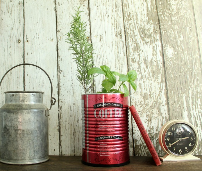 Repurposed coffee can kitchen herb garden | www.knickoftime.net