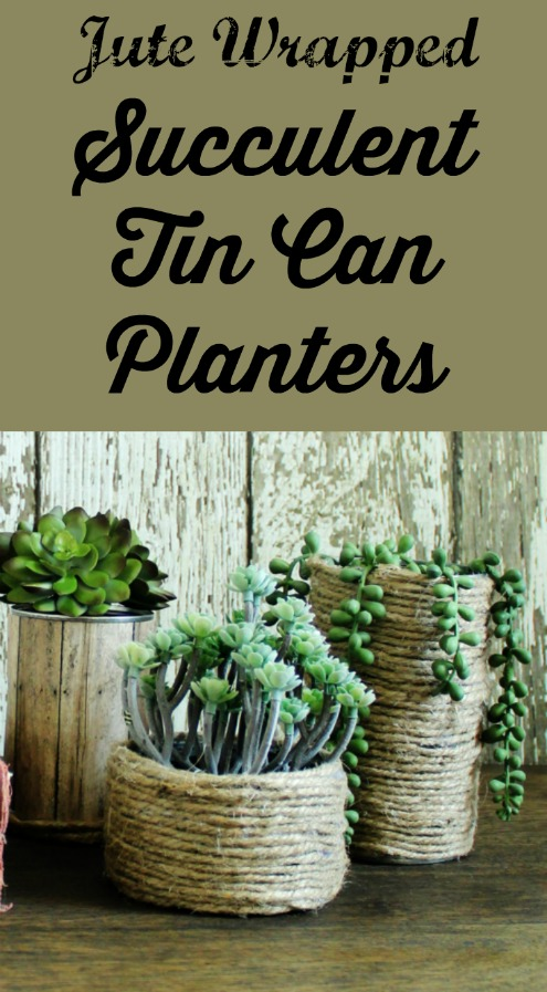 Whip up a batch of recycled tin can farmhouse style planters! What a cheap and easy project for the home or a gift | www.knickoftime.net