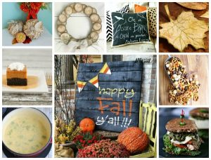 Featured at Talk of the Town | Twisted paper Pumpkins, Wood Slice Wreath, Chalkboard Fall Pillow, Tea Bag Fall Leaves, Pallet Wood Fall Sign and Delicious Fall Recipes featured at Knick of Time | www.knickoftime.net