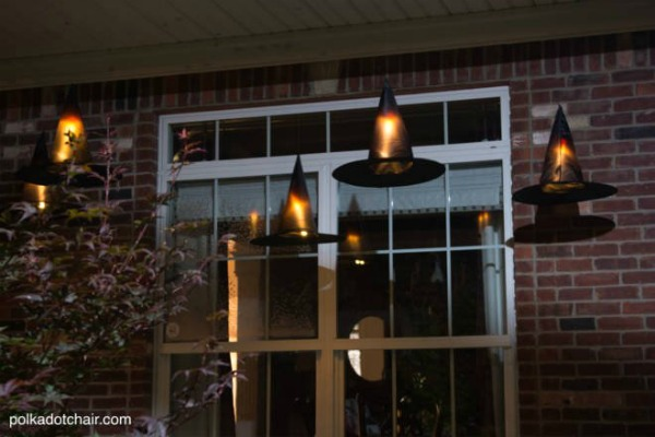 Hanging Witch Hats with Lights Halloween Decor to Die For by Pretty Extraordinary
