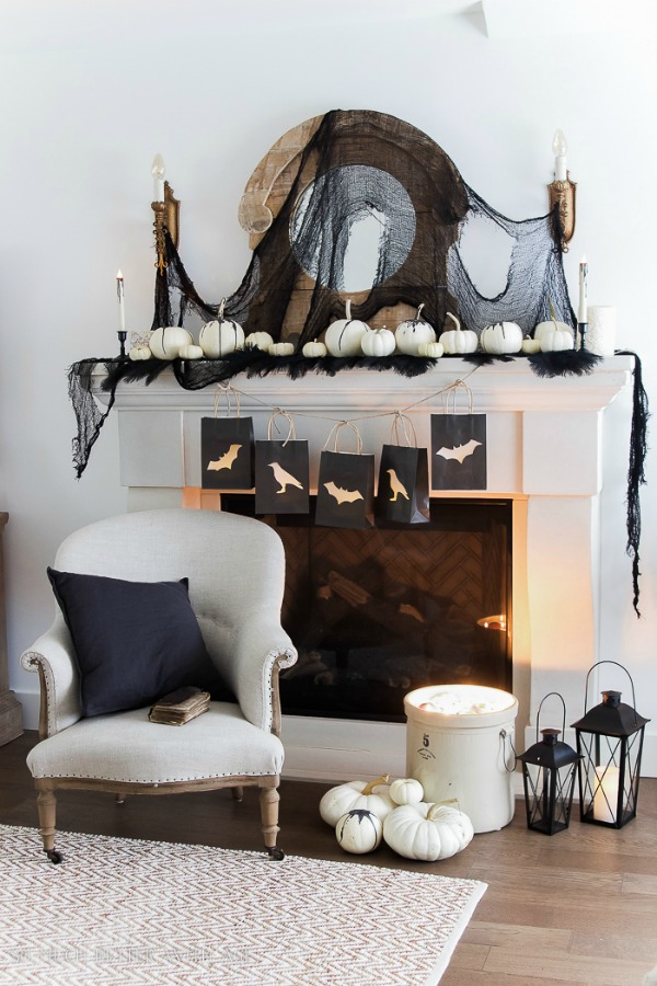 Classic Black Halloween Mantel Decor by So Much Better with Age